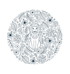 lion and tropical flowers vector image