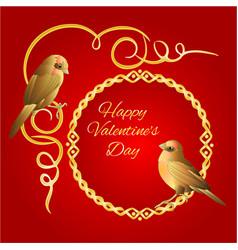 little golden birds and ornamets valentines vector image