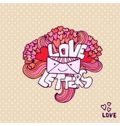 Love letter cute valentines day card vector image vector image