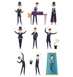 Magician male performer showmen in black costume vector