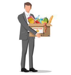 Man holding cardboard box full food vector