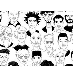 Mens head seamless pattern background grunge line vector