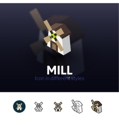 Mill icon in different style vector image
