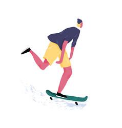 modern skateboarder riding skateboard young male vector image