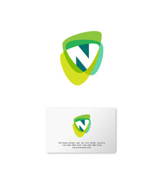 N logo multicolor shapes business card vector