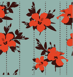 Orange hibiscus brown leaves seamless vector