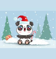 panda on snow in kawaii style for christmas vector image