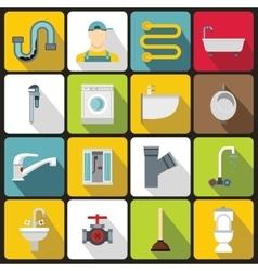 Plumbing icons set flat style vector image