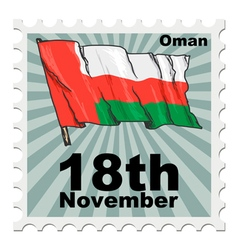 post stamp of national day of Oman vector image