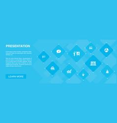 Presentation banner 10 icons conceptlecturer vector