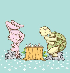 Rabbit and turtle are playing a chess game vector