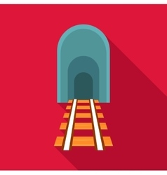 Railway tunnel icon flat style vector