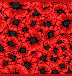 Red poppy flower seamless pattern for fabric vector