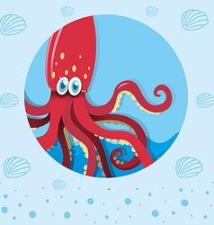 Red squid underwater vector
