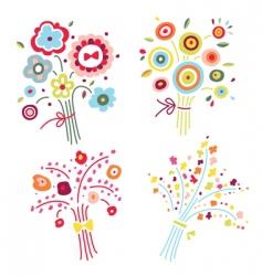 Set colorful bouquets vector