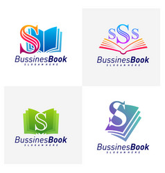 Set initial s with book logo design template vector