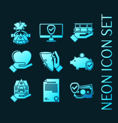 set insurance blue glowing neon icons vector image