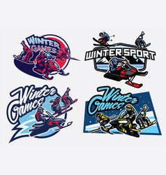 Set of winter sport games badge vector