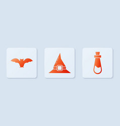 Set witch hat flying bat and bottle with potion vector