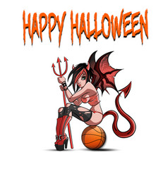 Sexy devil woman sitting on a basketball ball vector