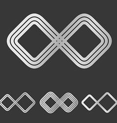 Silver line infinity logo design set vector