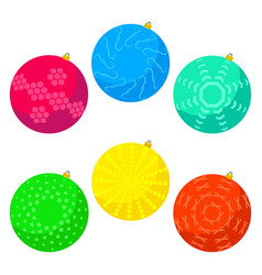 six multi colored christmas balls vector image