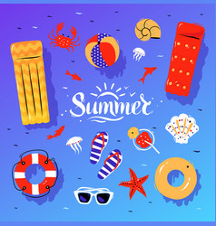 summertime top view set with summer vector image