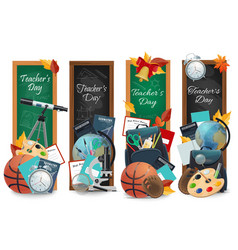teachers day chalkboards banners vector image