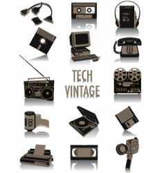 tech-vintage silhouettes vector image