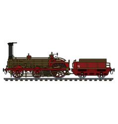 The vintage steam locomotive vector