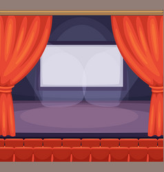 Theatre or cinema stage with red curtains vector
