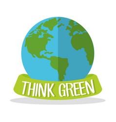 Think green globe world vector