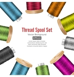 Thread Spool Banner Circle Border Place For Text vector