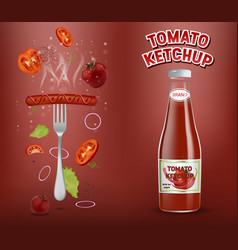 Tomato ketchup advertising poster template vector
