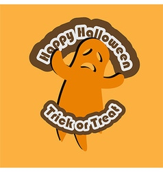 Trick or treat text with ghost vector