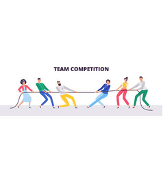 tug war people teams pull rope office vector image