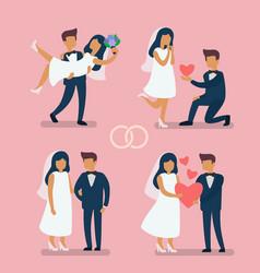 Wedding couple bride vector