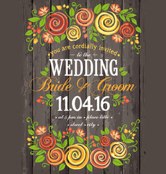 wedding invitation card with beuty floral vector image