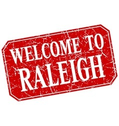 Welcome to Raleigh red square grunge stamp vector