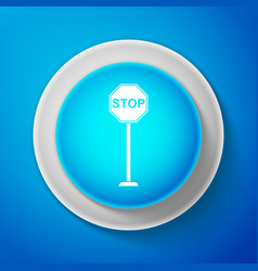 white stop sign icon isolated on blue background vector image