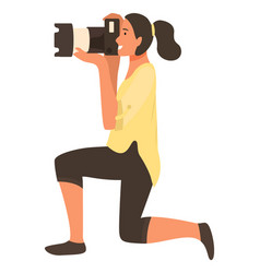 Woman paparazzi on knee making professional shoots vector