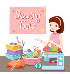 Woman with sewing tools set vector