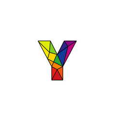 Y colorful low poly letter logo icon design vector