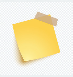 yellow note paper with shadow sticker note vector image