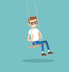 Young nerd sitting on the swing editable flat vector