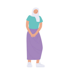 young woman wearing hijab standing isolated icon vector image