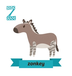 Zonkey Z letter Cute children animal alphabet in vector