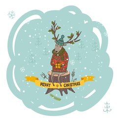 Christmas greeting card with deer and gift vector image