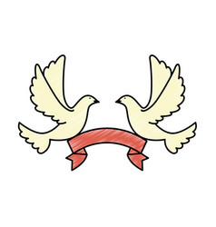doves of peace with ribbon vector image vector image