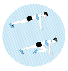 Girl doing sports exercise vector
